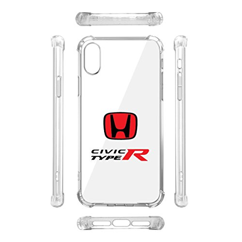 Honda Red Logo Civic Type-R iPhone X Clear TPU Shockproof Cell Phone ()