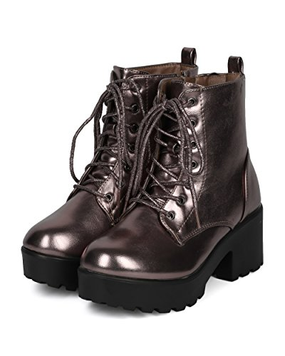 Indulge Mode IV Women Metallic Lug Sole Platform Block Chunky Heel Casual Trendy Dressy Festival Combat Bootie Boot Pewter Metallic 7WzIX