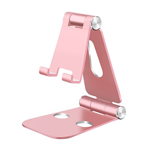 Adjustable Cell Phone Stand,HITASION Universal Aluminum Cell Phone Cradle Holder Accessories for Samsung Note 8 Google Pixel iPhone X 8 7 6 6s Plus LG G6 Moto Z and More Rose Gold
