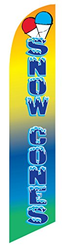 Snow Cones Feather Banner Swooper Flag - NO WIND REQUIRED - Replacement FLAG (Feather Banner Flags)