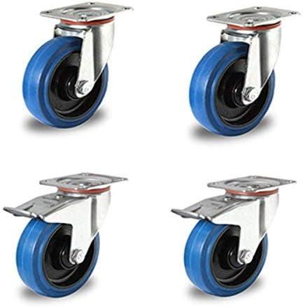 2 ruedas giratorias de goma termopl/ástica de 150 mm Juego de 2 ruedas giratorias con tope