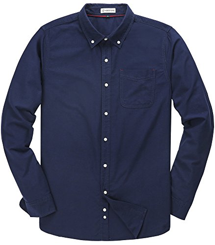 Men's Solid Color Oxford Long Sleeve Button Down Casual Shirt,Navy Blue,X-Large
