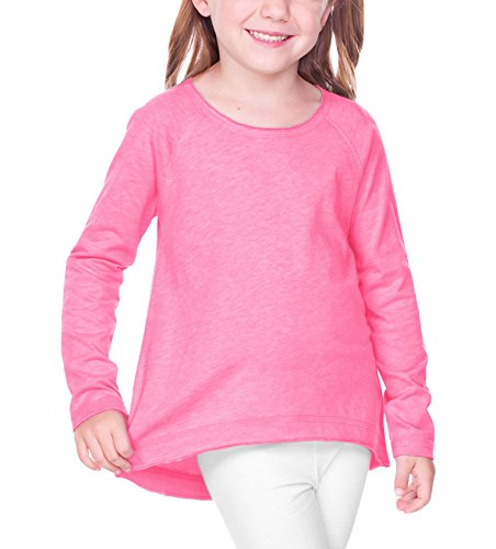 Kavio! Girls 3-6X Sheer Jersey Raw Edge Raglan High Low Long Sleeve Pink Flash (Raw Edge Raglan)