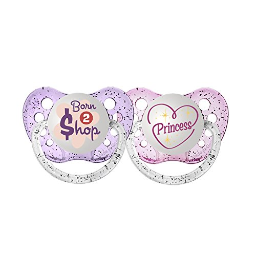 Ulubulu Expression Pacifier Set for Girls, Princess and Born 2 Shop, 0-6 Months