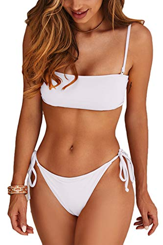 Almaree Women Lace Up Back Crop Top Bathing Suit Spaghetti Strap Bikini Sets White M