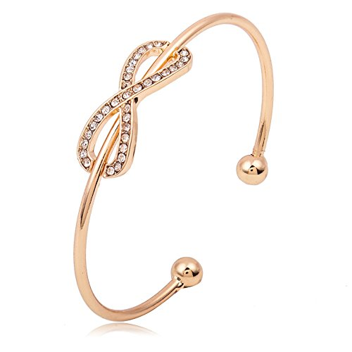 JczR.Y 8 Infinity Open Bangle Bracelet Simple Gold Wire Knot Crystal Love Heart Bracelet Cuff for Women Girls Fashion Jewelry Gift(Gold) (Wire Cuff)