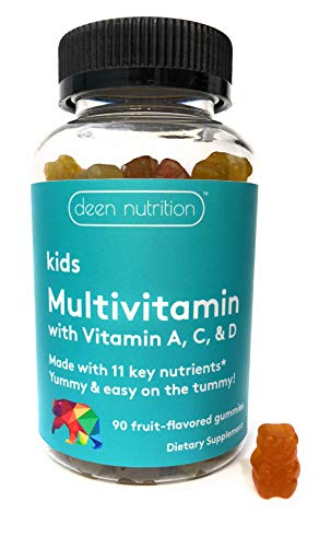 Halal Gummy Multivitamin for Kids | Gelatin-Free | Vegetarian | by Deen Nutrition | Real Fruit Juice | Easy to Chew | 11 Essential Vitamins & Minerals for Growing Children 2+ | 90 Bear-Shaped Gummies