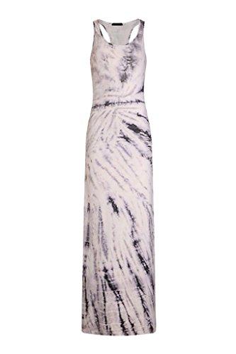 YiyiLai Et Robe Longue Femme Sans Manche Col Rond Imprim Plage Voyage Casual Mode Blanc