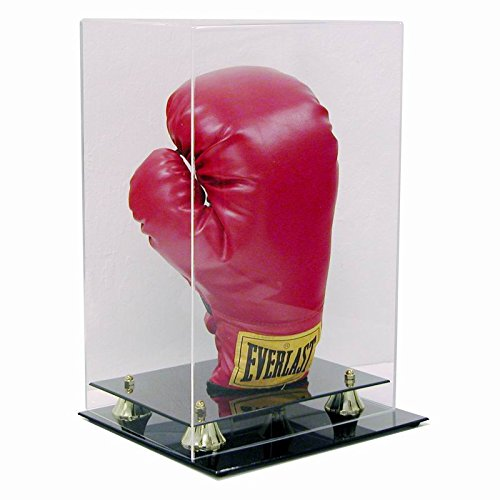 (SAFTGARD SUPPLIES Deluxe Acrylic Vertical Boxing Glove Display Case w/ Gold Risers)