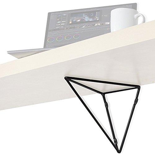 Wallniture Prismo Wall Mounted Geometric Prism Heavy Duty Large Brackets for Wall Table - Counter Tops - DIY Shelving Triangle Design - Iron Set of 2