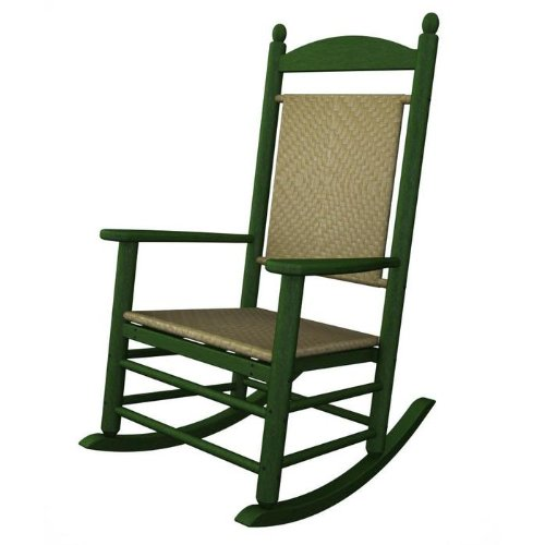 (Rocker Jefferson Woven Chair Frame Finish: Green, Seat/Back Finish: White Loom)