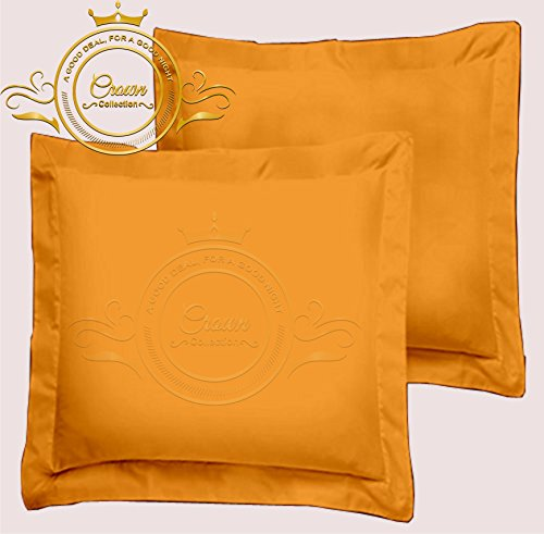 - European Square Pillow Shams Set of 2 All Size & Colors 600 Thread Count 100% Egyptian Cotton Pack of Two Euro 26 x 26 Pillow Shams Cushion Cover Decorative (Euro 26x26 Inch, Gold)