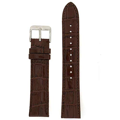 Seiko Genuine Textured Brown Leather Alligator Grain 20Mm Watch Band - Brown, 20Mm, Silver Tone, Regular (Dark Brown Genuine Alligator Watch)