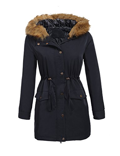 Hooded Mid Length Coat (ELESOL Women's Mid-Length Parka Jacket Hooded Winter Coats Faux Fur Coat Outdoor Navy Blue XL)