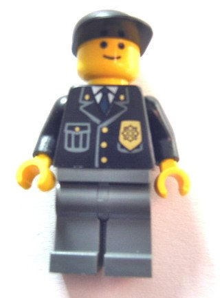 Lego Town City Minifigure Police - City Suit with Blue Tie and Badge, Dark Bluish Gray Legs, Black Cap x1 Loose
