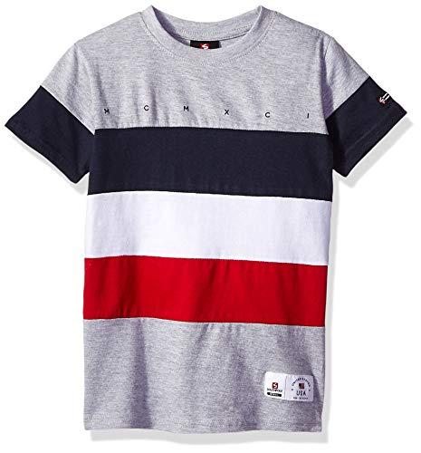 (Southpole - Kids Boys' Little Colorblock Short Sleeve Fashion Tee, Heather Grey Horizontal Cut, Large)
