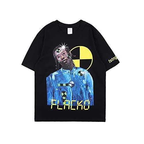 NAGRI ASAP Testing Letter Printing T-Shirt Graphic Rap Music Hip Hop Short Sleeve Crew Neck Tee Black