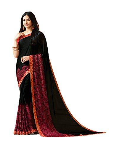 daindiashop-USA Saree for Women Indian Sari Wrap Dress Partywear Outfit Ethnic Traditional Style Black Saree by daindiashop-USA