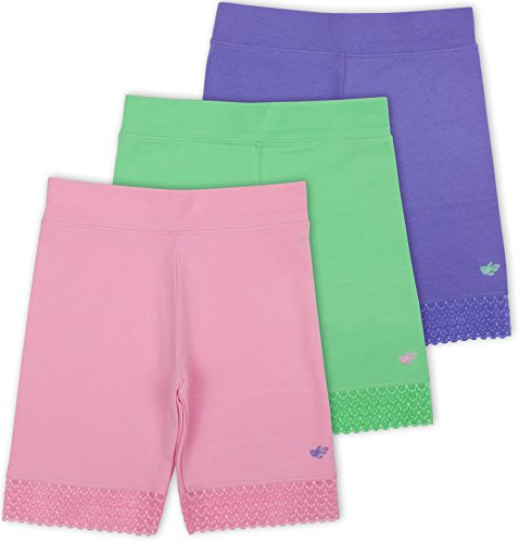 Lucky & Me Jada Little Girls Bike Shorts, Tagless, Soft Cotton, Lace Trim, Underwear, 3 Pack, Pastel 9/10
