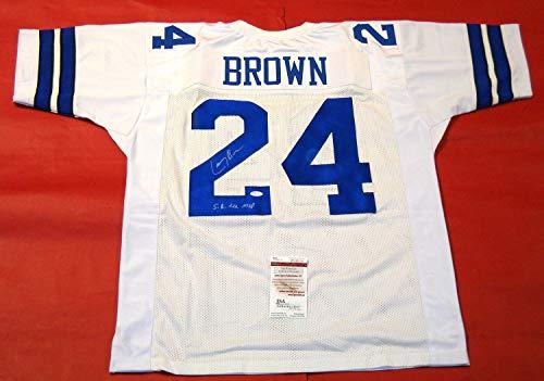 Larry Brown Autographed Signed Dallas Cowboys Jersey Super Bowl Xxx Mvp Inscription JSA - Certified Authentic