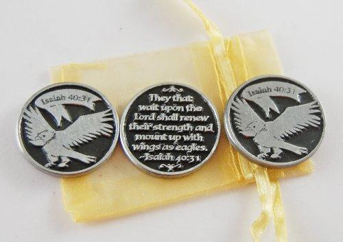 (Set of 3 Eagle Soar Isaiah 40:31 Pocket Token Coins with Organza Bag)