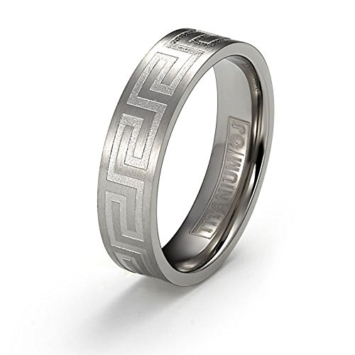 Orien Jewelry 6mm Titanium Ring Brushed Surface Polished Greek Key Design Comfort Fit SZ 6-12 Free Engraving Service
