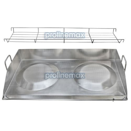 32'' Double Stainless Steel Concave Comal Plancha Griddle Pan WITH RACK Cooking Grill