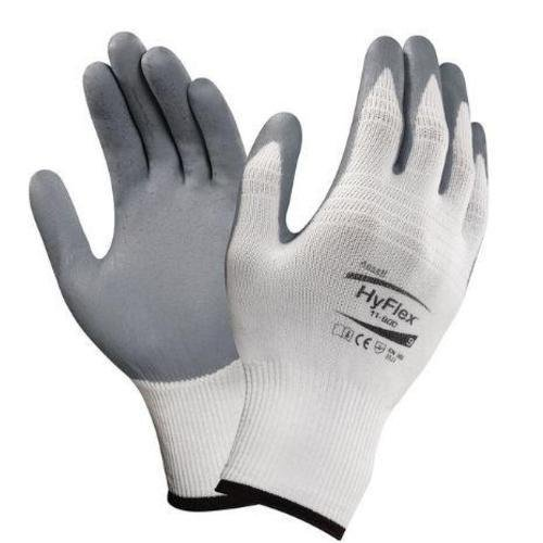 Ansell Cotton Gloves (Ansell HyFlex 11-800 Nylon Glove, Gray Foam Nitrile Coating, Knit Wrist Cuff, Large, Size 9 (Pack of 12))