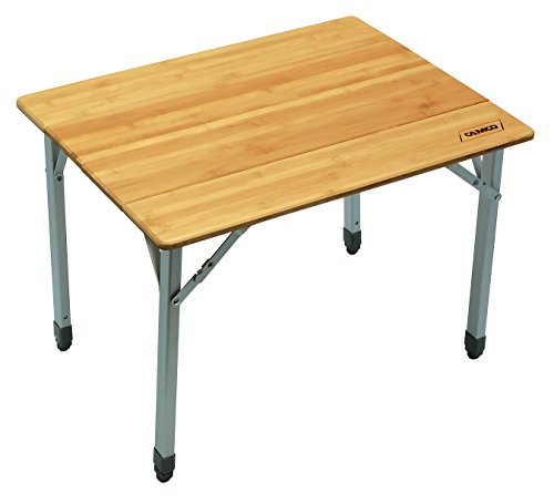 Camco 51895 Bamboo Folding Table with Aluminum Legs- Compact (Foldable Wooden Picnic Table)