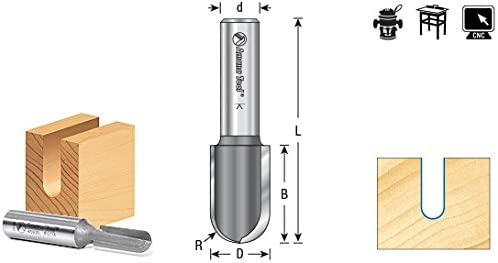 Amana Tool 45944 Carbide Tipped Core Box 5//8 Radius x 1-1//4 Dia x 1-1//4 x 1//2 Shank