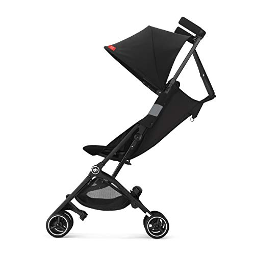 gb Pockit+ All-Terrain, Ultra Compact Lightweight Travel Stroller with Canopy and Reclining Seat in Velvet Black