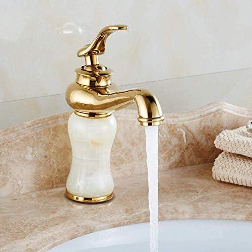 ZT-TTHG 実用的なヨーロッパのレトロな白翡翠の浴室の洗面台のホットとコールド蛇口ゴールドアンダーカウンター洗面単穴蛇口セット美しいです