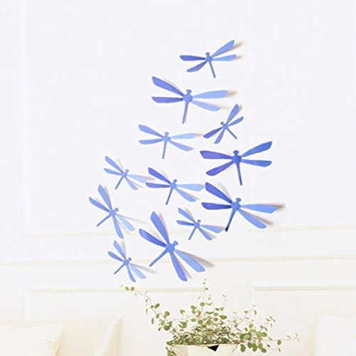 - Tuscom 12pcs 3D DIY Decor Dragonfly Home Party Wall Stickers PVC Art Decal (Purple)