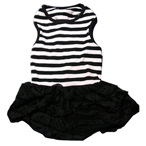 Product image of Binmer(TM)Cute Dog Clothes Pet Dog Costume Stripe T-shirt Skirt Puppy Princess Dress Dog Apparel (Black, M)