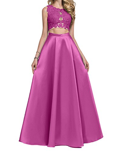 Abendkleider Promkleider Charmant linie Damen Bodenlang Pink Lang Gruen Abiballkleider Zwei A teilig XfqX4Y