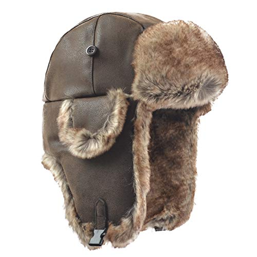 Janey&Rubbins Russian Hat Fur Soviet Ushanka Cossack Winter Cap Earflap Snow Ski Headwear (L, Brown/Leather)