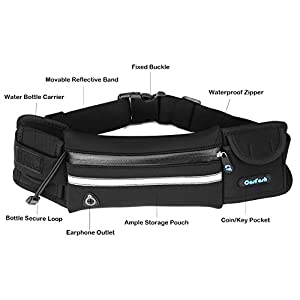 Running Belt Pouch with Water Bottle Carrier for Sports Walking Hiking Workout Runner - Fanny Waist Pack Bags Pockets - Key iPhone 7 Plus 6s Holder by Cosfash