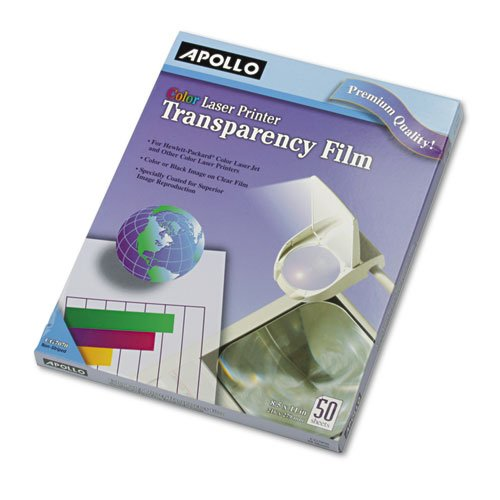 - Apollo® - Color Laser Printer/Copier Transparency Film, Letter, Clear, 50/Box - Sold As 1 Box - Create crisp charts, graphs and spreadsheets.
