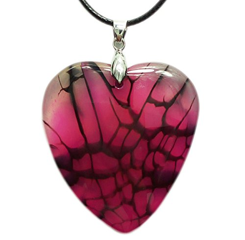 - Mina Heal Heart Shaped Agate Necklace Pendant That is a Token for Love and Represents Ones Imagination & Abundant Emotions, with 2 Necklace Cords 18