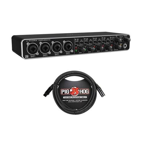 Behringer U-PHORIA UMC404HD Audiophile 4x4, 24-Bit/192 kHz USB Audio/MIDI Interface with Midas Mic Preamplifiers - with 10' 8mm XLR Microphone Cable
