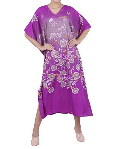 Embellished Kaftan - Miss Lavish London Kaftan Tunic One Size Beach Cover Up Maxi Dress Sleepwear Embellished Kimonos [Purple]