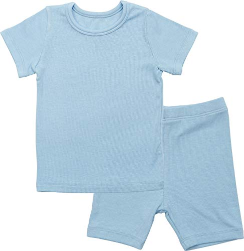 AVAUMA Newborn Baby Little Boys Snug-Fit Pajamas Summer Short Sets Pjs Kids Clothes (S/Sky Blue) - Infant Natural Apparel
