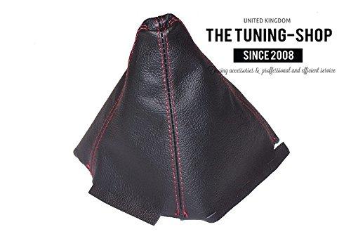 Soufflet de levier Noir cuir v/éritable Coutures rouges