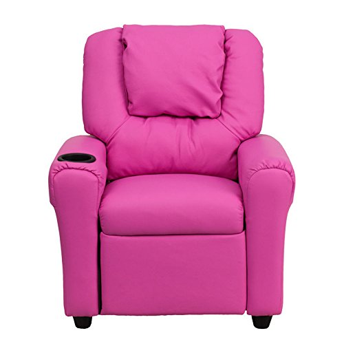 Modern Girls Kids Hot Pink Vinyl Recliner Theater Chair