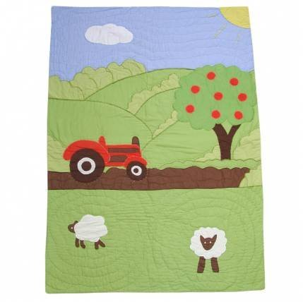 Powell Craft Tractor Patchwork Cot Quilt Red