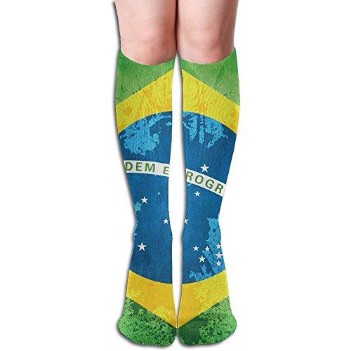 DAWBSOCK Women's Brazil Flag Vintage Novelty Below Knee Socks Calf High Socks Knee - Shipping Usps Brazil