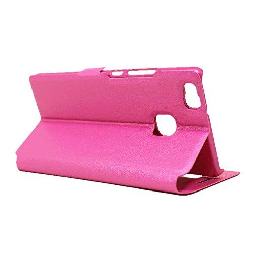 YAJIE-Carcasa Funda Para Huawei G9 / G9 Lite / P9 Lite, cuero PU de color liso con soporte Funda de ventana de doble ventana abierta de protección (Responda o rechace las llamadas sin abrir la tapa) ( Rose