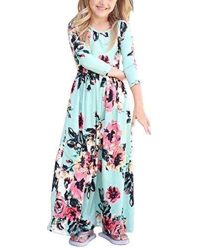 Fashspo Girls Maxi Dress Floral Flower Printed 3/4 Sleeve Dress with Pockets Long Holiday Dress, Green - Jumper Long Dress