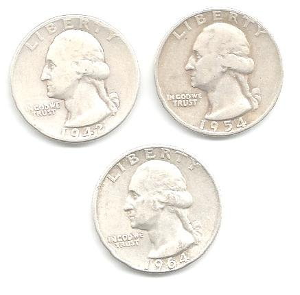 SET OF 3 SILVER WASHINGTON QUARTERS - EF - EXTREMELY FINE - 1942, 1954 D, 1964 D (THIS LISTING IS PROPERTY OF: ALABAMA PICKERS)