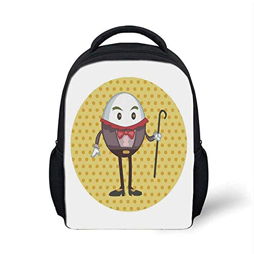 Alice in Wonderland Stylish Backpack,Humpty Dumpty Egg Standing Dotted Background Cartoon Alice for School Travel,9.4
